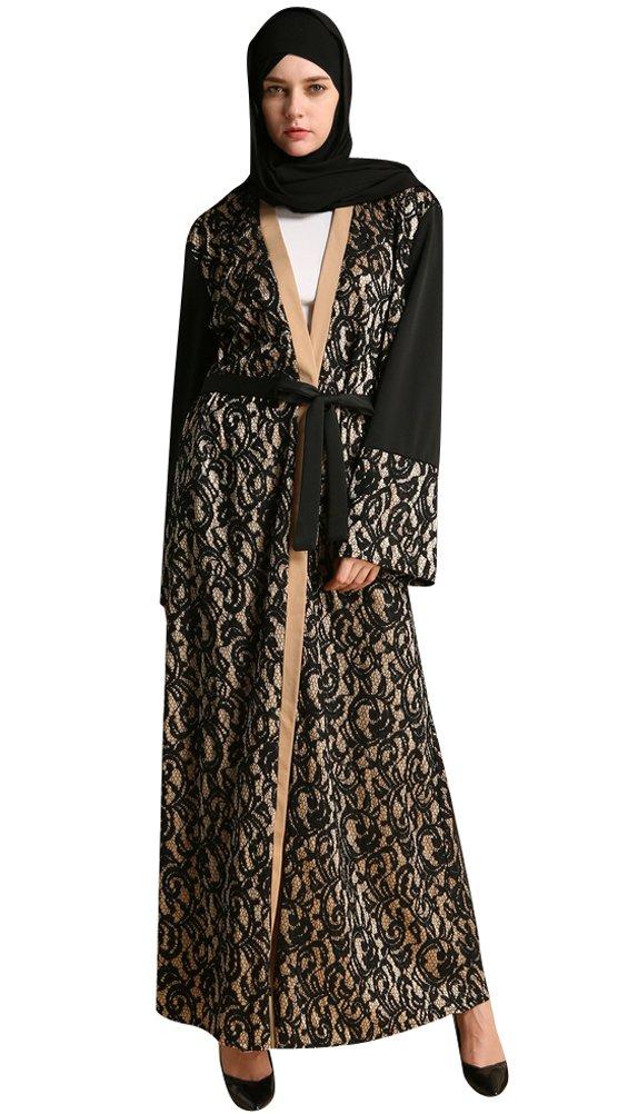 YI HENG MEI Women's Elegant Modest Muslim Islamic Full Length Floral Lace Abaya Dress with Belt,Black,XXL