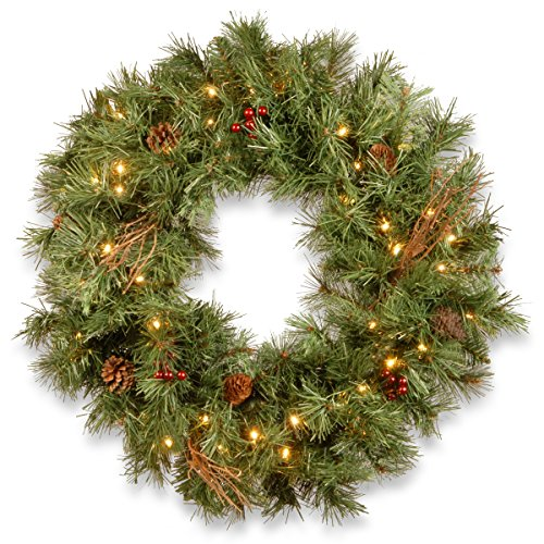 National Tree 30 Inch Glistening Pine Wreath with Cones, Red Berries, Twigs and 50 Battery Operated Warm White LED Lights with Timer (GN19-300-30W-B) ()