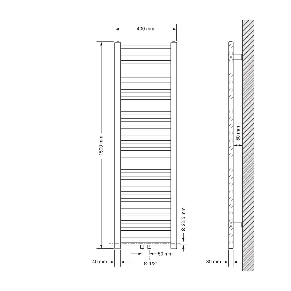 Heizk/örper Handtuchw/ärmer Handtuchtrockner Wei/ß 600 x 1800 mm gerade mit Mittelanschluss ECD Germany Badheizk/örper