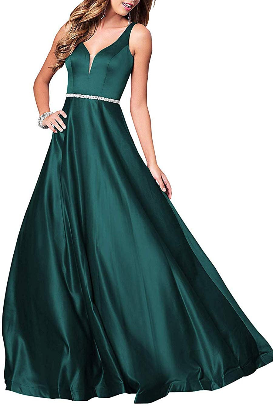 Peacock Deep VNeck Long Satin Prom Dress with Beaded Pocket Formal Evening Party Gown