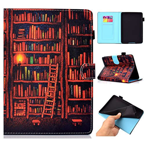 (UUcovers Kindle Paperwhite Case Prior to 2018, Auto Wake/Sleep Thinnest PU Leather Case with Stand Cash Holder-Oil Painting of Bookshelf)
