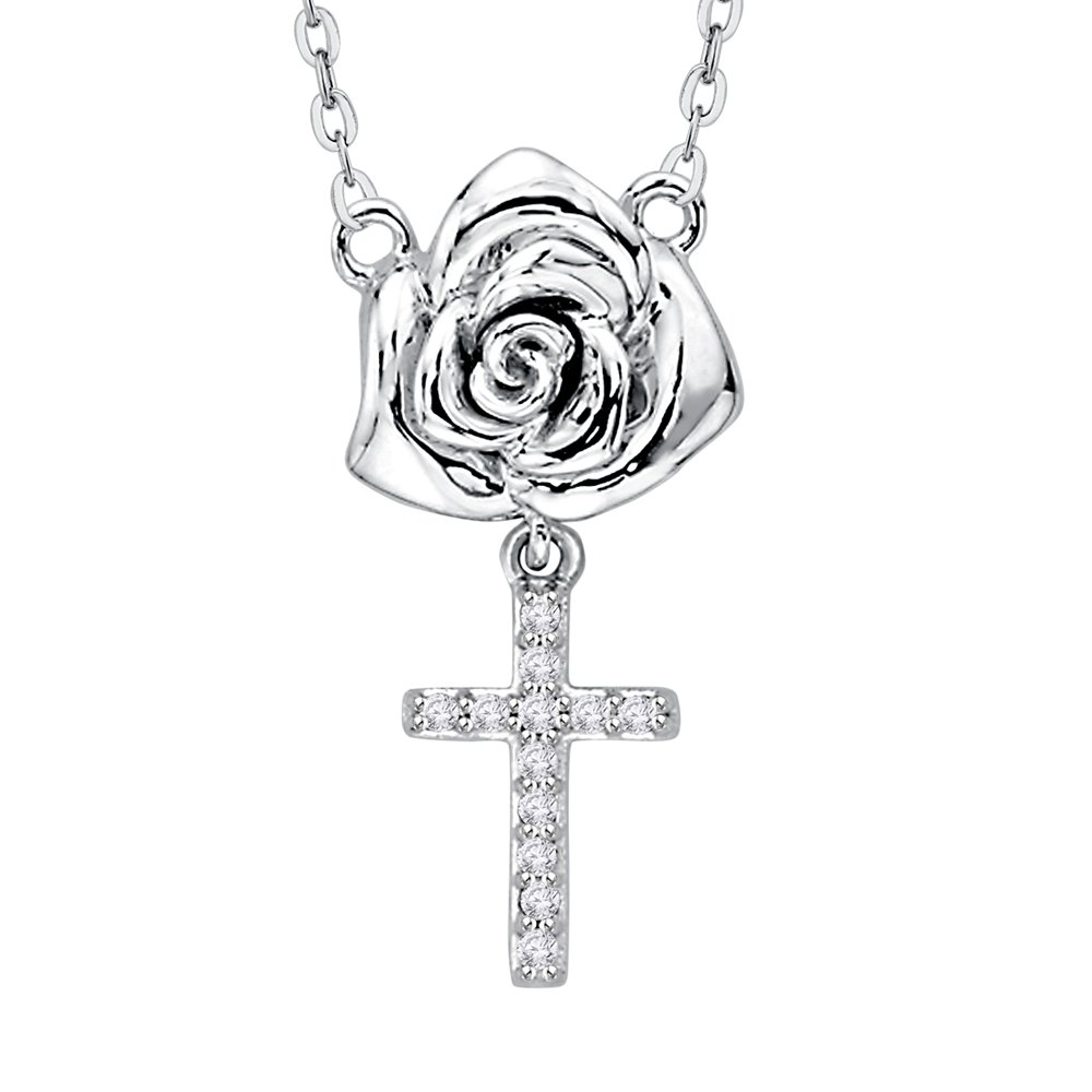Diamond Rose Cross Pendant Necklace in Sterling Silver (1/20 cttw) (GH Color, I2-I3 Clarity)