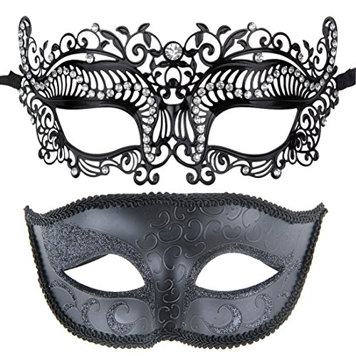 [One Pair Couple's Masquerade Ball Venetian Masks Party Costumes Accessory] (Couples Dance Costumes)