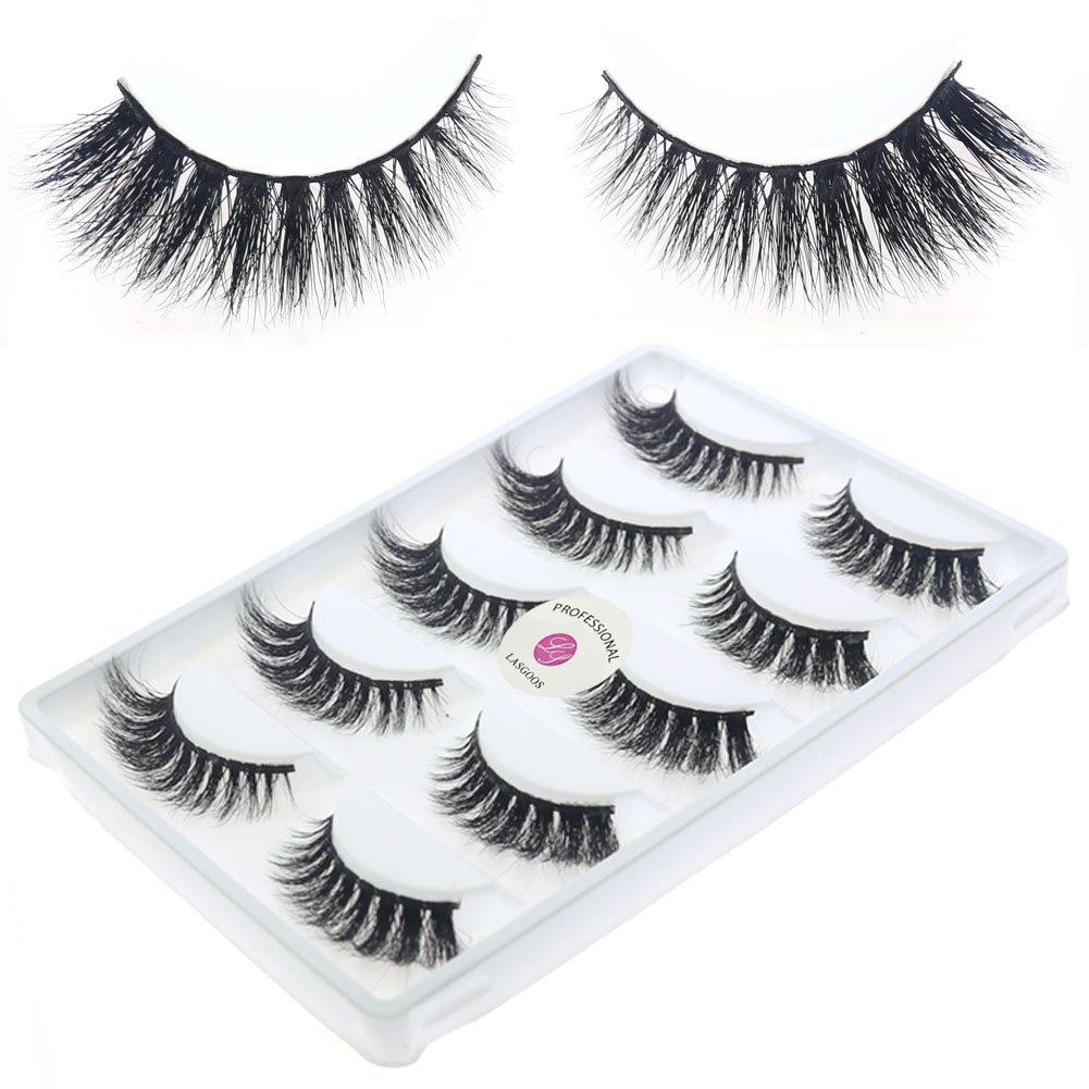 2035b12de23 Amazon.com : New 5 Pairs/Box 3D Real Mink False Eyelashes LASGOOS Design 100%  Siberian Mink Fur Luxurious Natural Cross Thick Winged Fake Eye Lashes  (D101) ...