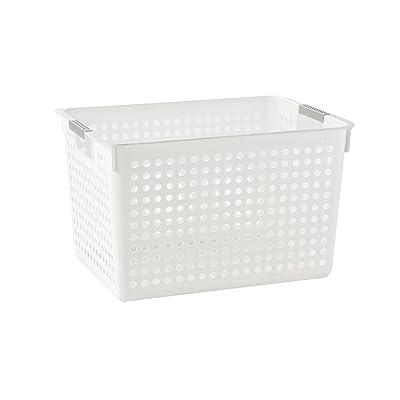 ARPAN Storage Shelf Box Plastic Rattan-Look Hamper with Insert Handles