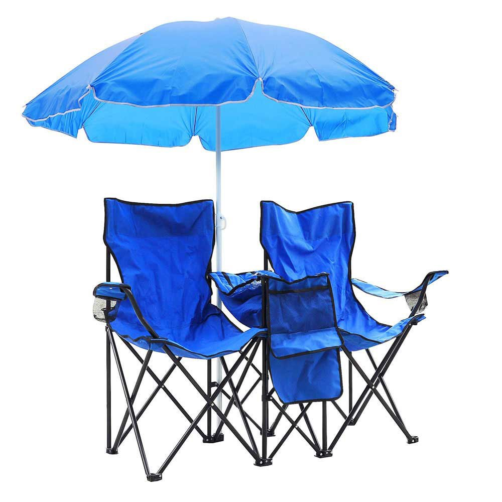Double Folding Outdoor Picnic Beach Camping Garden Chair with Removable Umbrella B00OALZ3WU