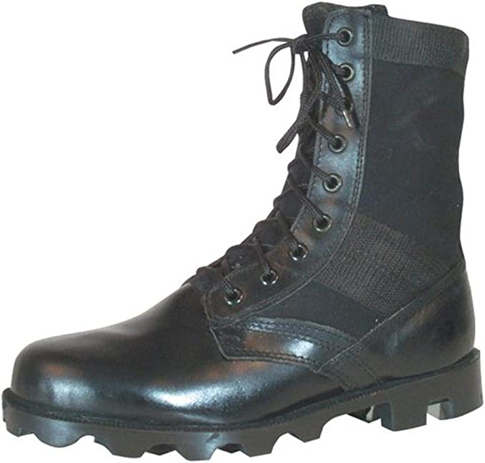 An image of a tactical long-shaft boot, shiny black color, laces looped neatly upwards and tied into a ribbon.