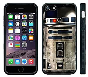 Apple iPhone 4 4s Black Rubber Silicone Case - Star Wars R2D2 Metallic Metal Style Cool