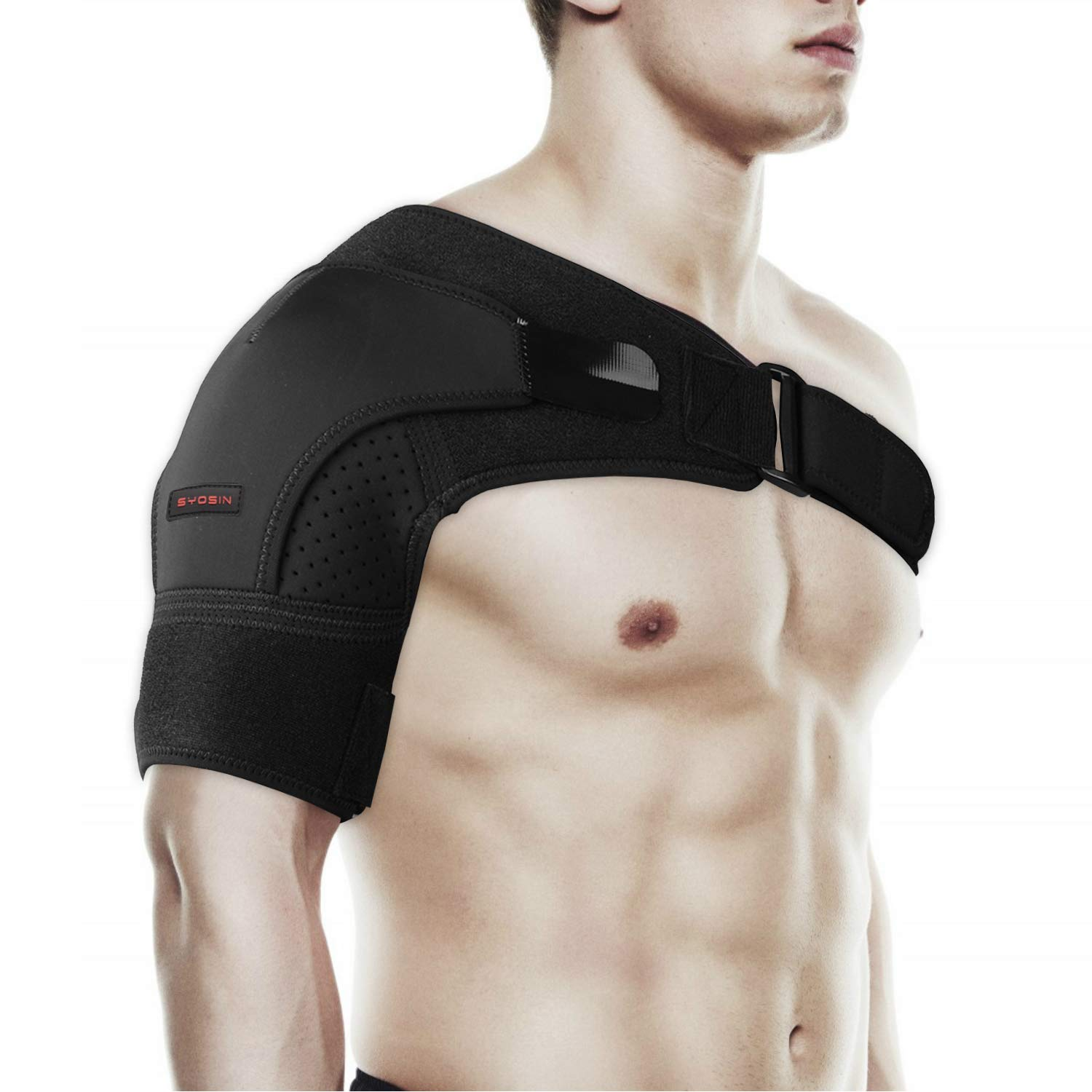 Shoulder Brace by SYOSIN - Rotator Cuff Support for Injury Prevention, Dislocated AC Joint, Labrum Tear, Tendonitis and Fracture - Shoulder Compression Sleeve with Pressure Pad for Men & Women by SYOSIN
