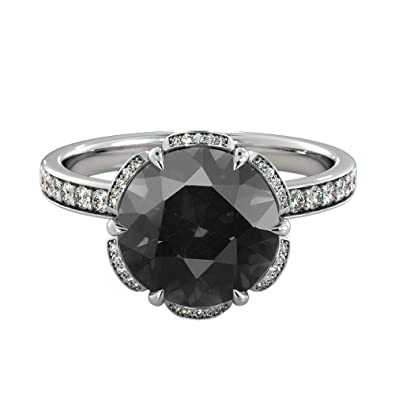 Amazon Black Diamond Ring 14k White Gold Flower Vintage Unique