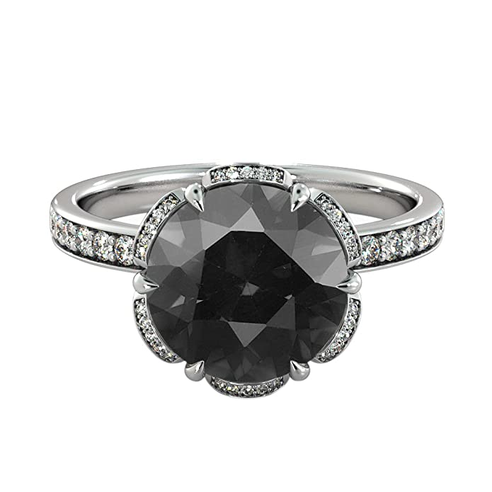 2.00 CTW Black Diamond Ring 14K White Gold Flower Vintage Halo