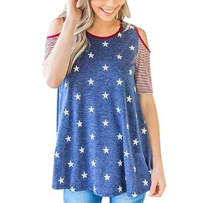 ????Vovotrade???? Women Summer T Shirt Off Shoulder Short Sleeve American Flag Blouse Tops Pullover