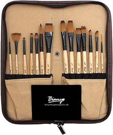Baosity 14 piezas Nylon Pinceles para Pintar Pelo para Artistas Pintura Acrílica, Acuarela Pintura al óleo con Estuche de Transporte: Amazon.es: Hogar