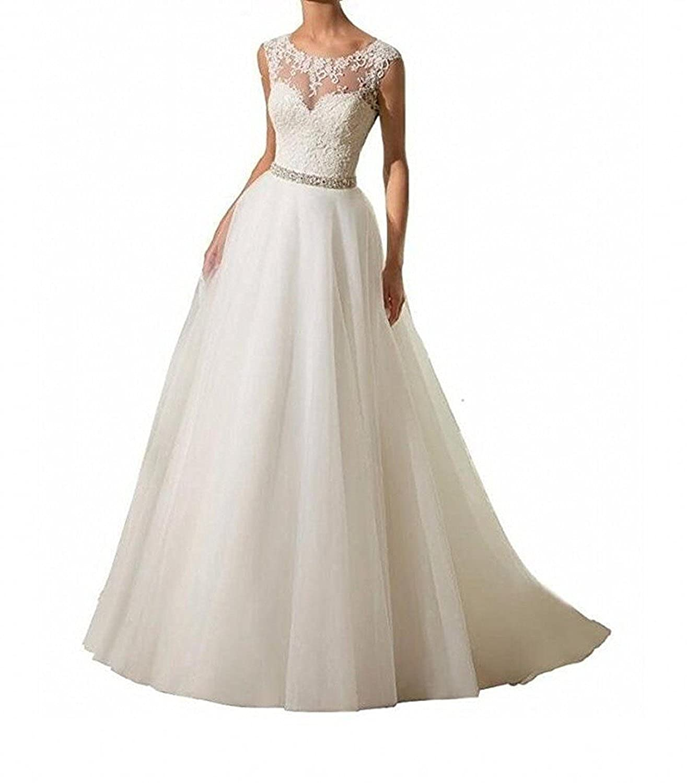 SDRESS Womens Appliques Illusion Crew Neck Long A-line Bridal Wedding Dress