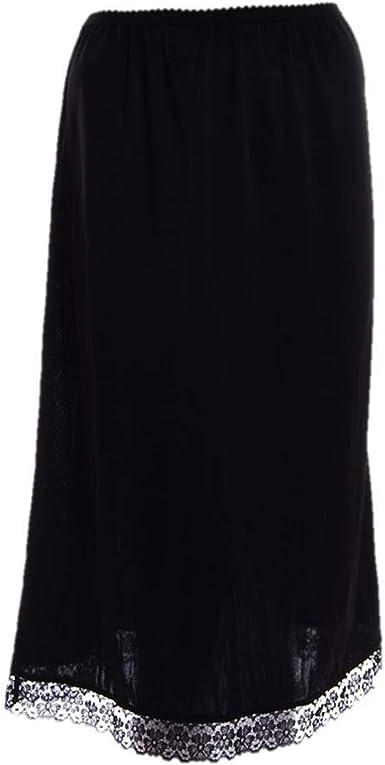 "Women Under Skirt Dress Waist Half Slip 28/"" /& 39/"" Black /& White Lace Petticoat"