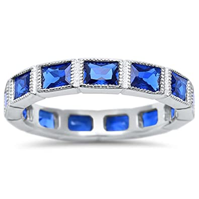 f4c7fe422ad76 Amazon.com: 3.5mm Full Eternity Stackable Wedding Band Ring Baguette ...