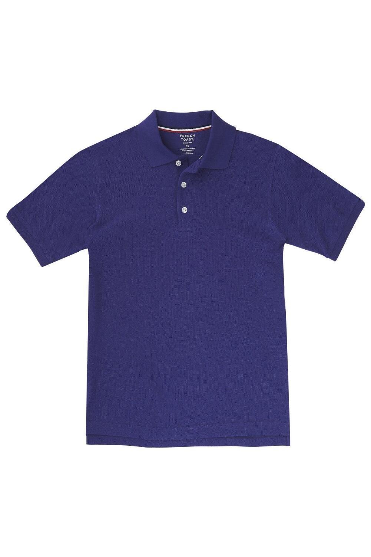 French Toast Big Boys' Short Sleeve Pique Polo, Purple, XL (14/16)