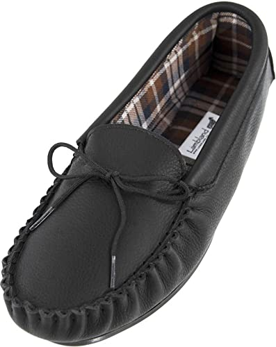 385e800865a Lambland Mens   Ladies Genuine Leather Moccasin Slippers with Cotton Lining  in Black Size UK 3