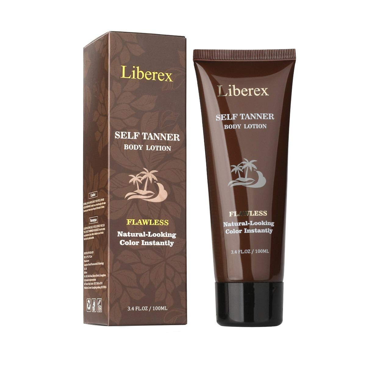 Self Tanner, Liberex Sunless Tanning Lotion Organic Ingredients Flawless Instant Tan Bronzing Tones for Body FDA Registered 3.4 oz