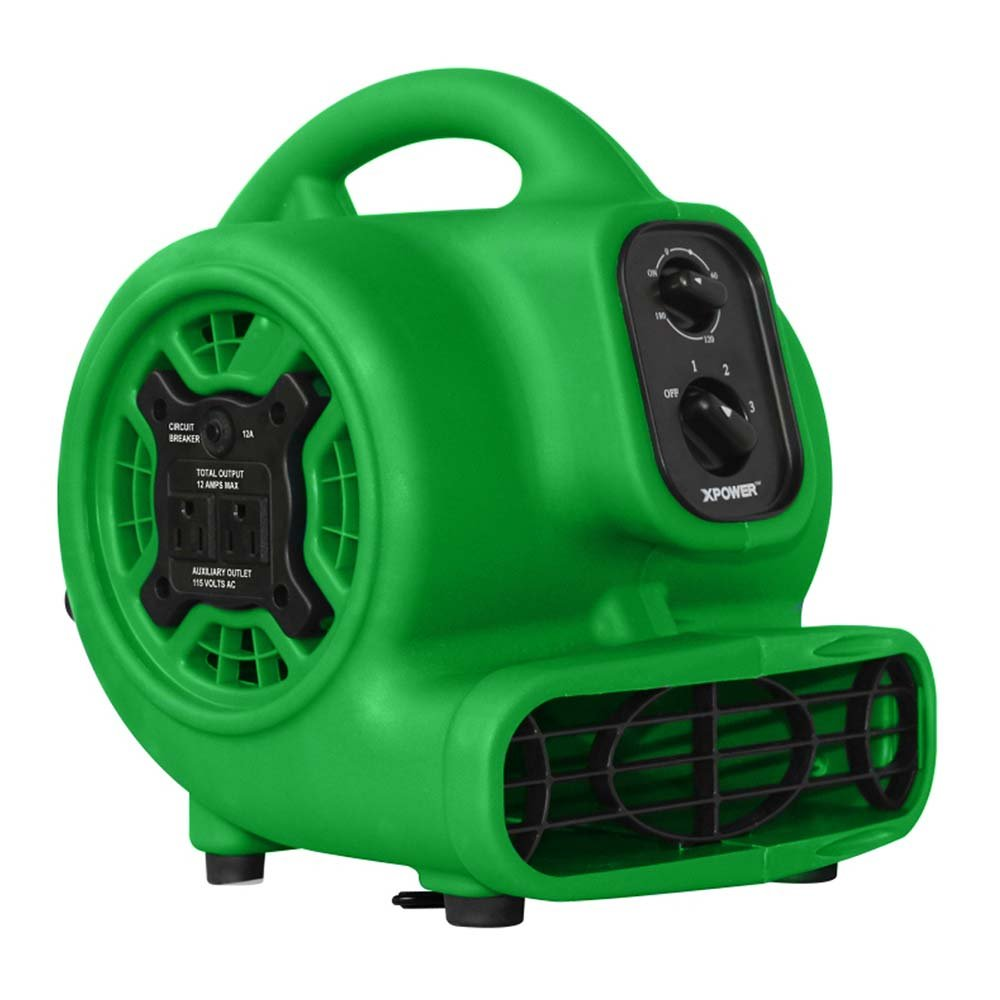 XPOWER P-230AT 1/5 HP 800 CFM 3 Speeds Mini Air Mover with 3-Hour Timer and Built-In Dual Outlets for Daisy Chain - Green