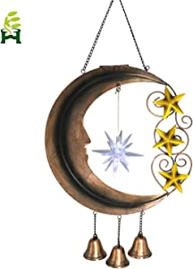 EH-Garden Solar Garden Decorative Lights Outdoor - Metal Moonlight for Garden, Patio, Yard(Brown Hanging Moon)