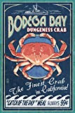 Bodega Bay, California - Dungeness Crab Vintage Sign (9x12 Art Print, Wall Decor Travel Poster)