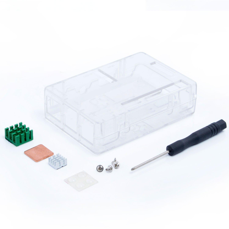 Aukru/® Bo/îtier Noir//Case pour Raspberry Pi 3/Mod/èle B et Set de 2/mod/èle B avec 3/pi dissipateur Thermique la derni/ère Version 2016