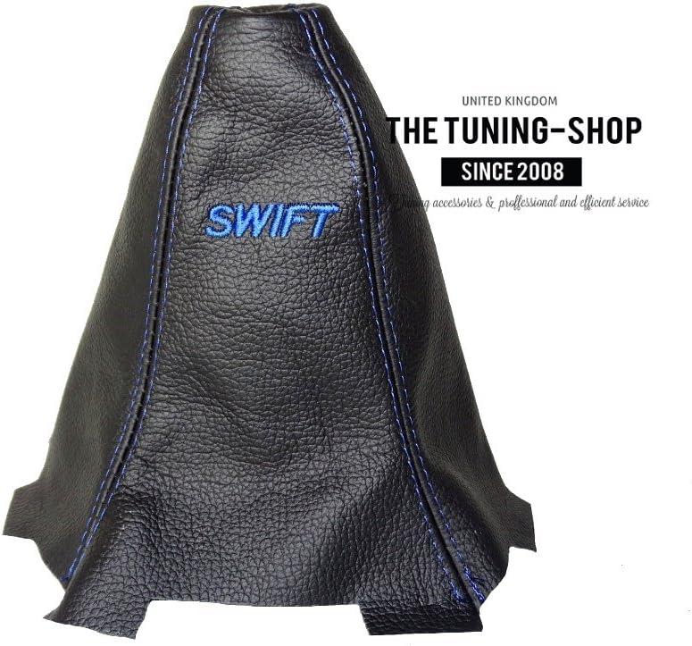 Gear Stick Gaiter Black Genuine Leather Blue Swift Embroidery