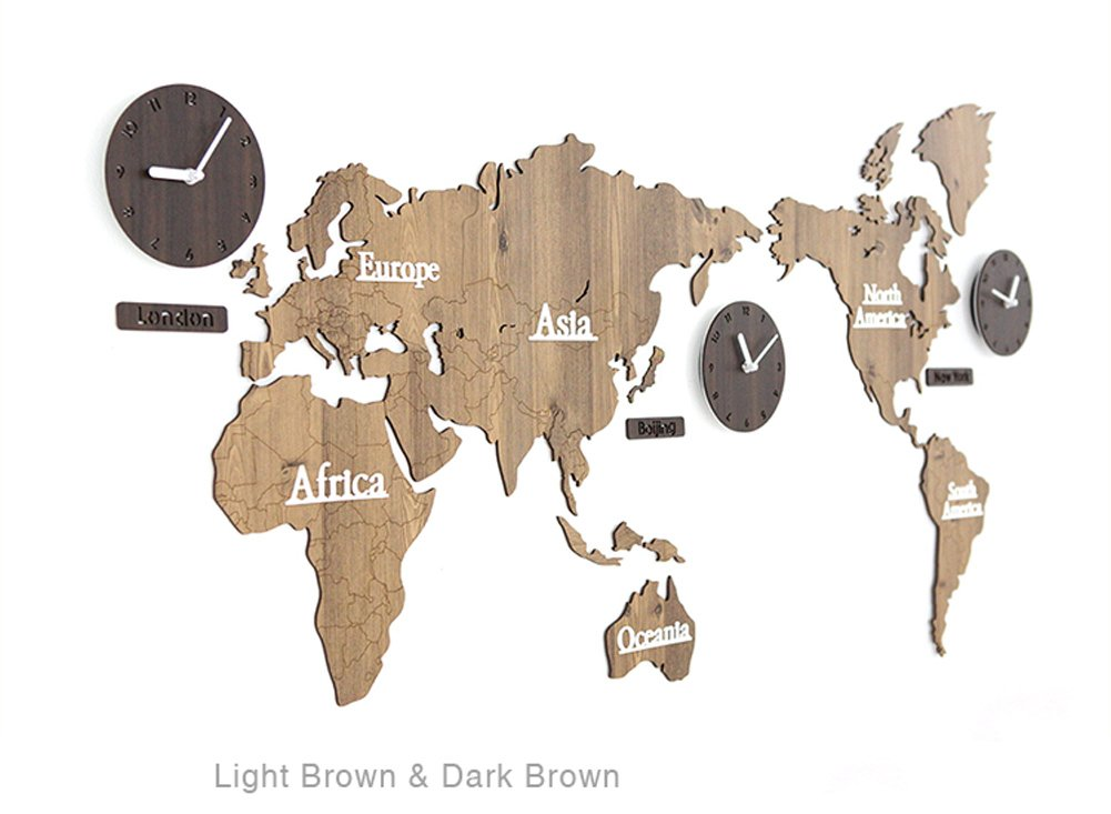 北欧世界地図ウォールクロックリビングルームパーソナルハウスデコレーション137 * 63cm (色 : Light brown#2) B07DSD4MF4 Light brown#2 Light brown#2