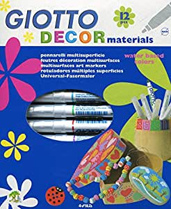Giotto Decor Materials - Estuche 12 rotuladores decorativos multisuperficie, tinta base agua