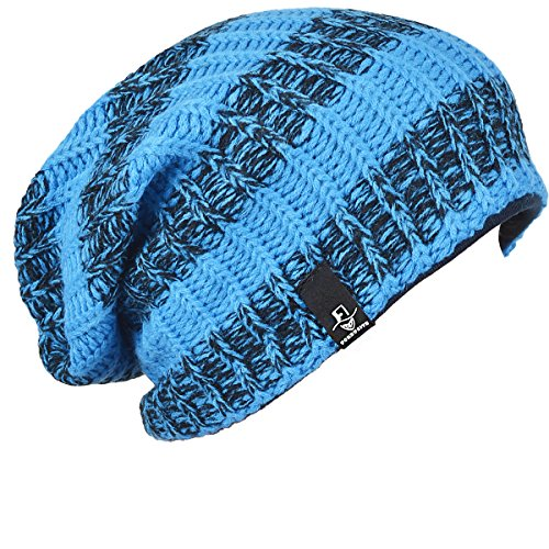 Mens Slouchy Long Oversized Beanie Knit Cap for Summer Winter B08 (Bright Blue with Black) (Cool Summer Hats compare prices)