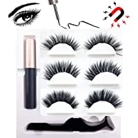 Magnetic Eyeliner and Magnetic Eyelash Kit, 2019 Latest Invention Magnetic Liquid Eyeliner Waterproof With FREE Tweezer For Use With Magnetic False Lashes (3 Pair 3D Eyelashes Natural and Dramatic)