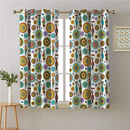 Jinguizi Tribal Grommets Two Panels,Ethnic Mandala Motifs and Colorful Arabesque African Women in Traditional Outfits,Printed Darkening Curtains,84W x 72L ()