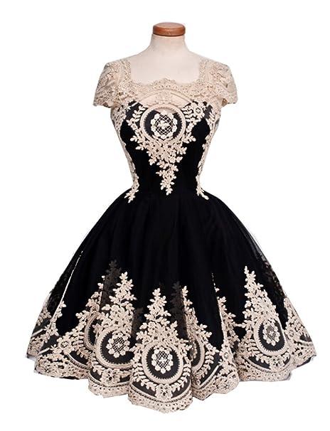 Elley una línea de la mujer encaje sobrepuesto Homecoming vestido de fiesta para los adolescentes