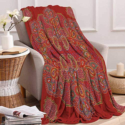 Red Mandala Digital Printing Blanket Moroccan Persian Design Oriental Rectangular Paisley Floral Print Summer Quilt Comforter 62