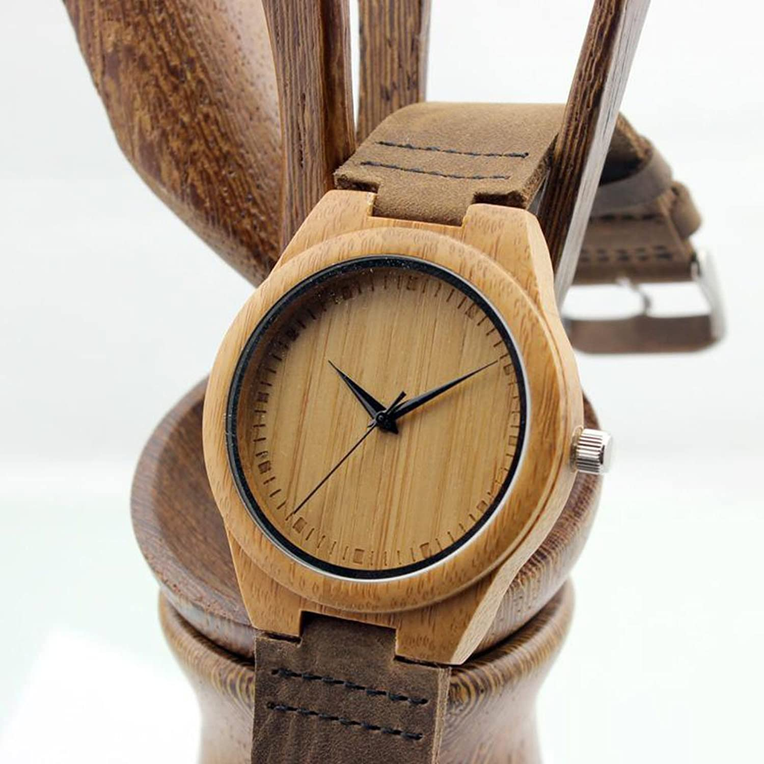 unique quadrangle fashion clock men design vintage wristwatches in handmade s from wood bamboo hours watch watches leather analog item quartz man