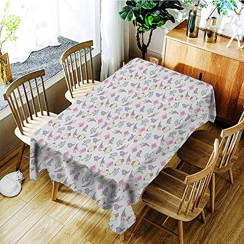GUUVOR Birthday 3D Printed Long Tablecloth Sketch Art Style Birds Cupcakes Baby Carriages and Tulip Flowers Newborn Theme Desktop Protection pad W70 x L120 Inch Multicolor