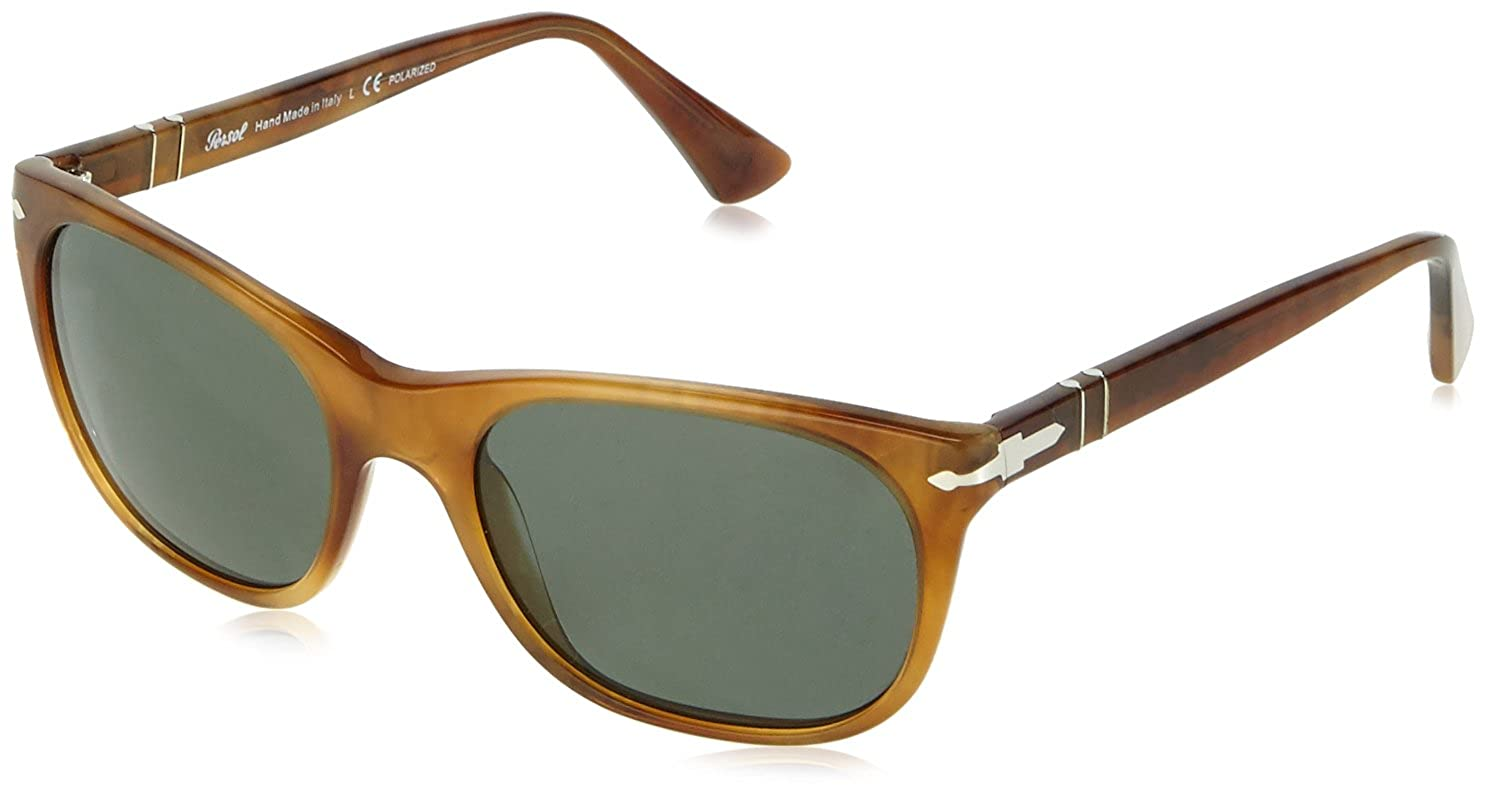 dff065990a113 Persol Men s 3102 Light Stripped Tortoise Frame Green Polarized Lens  Plastic Sunglasses