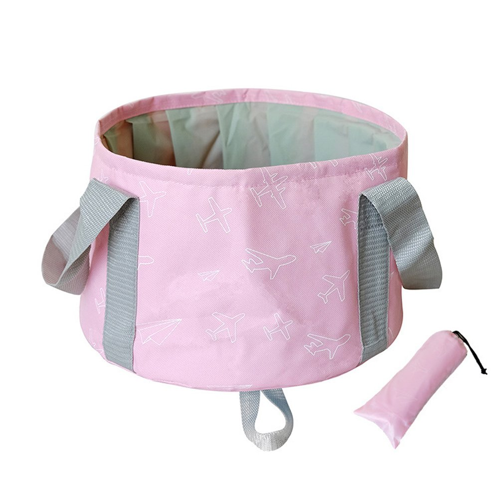 L.Atsain Premium Outdoor Travel Folding Bucket Portable Washing Basin Bucket With Free Carrying Pouch For Fishing/Face Wash/Footbath/Pet Water Bowl Etc,Pink