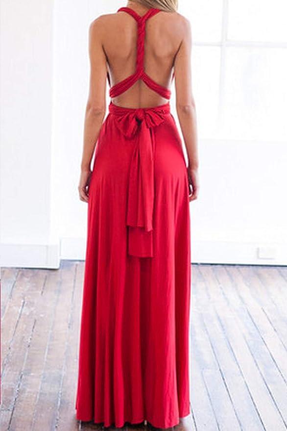 Yacun Vestido De Dama De Honor Multi Way Maxi Vestido De Cóctel De ...