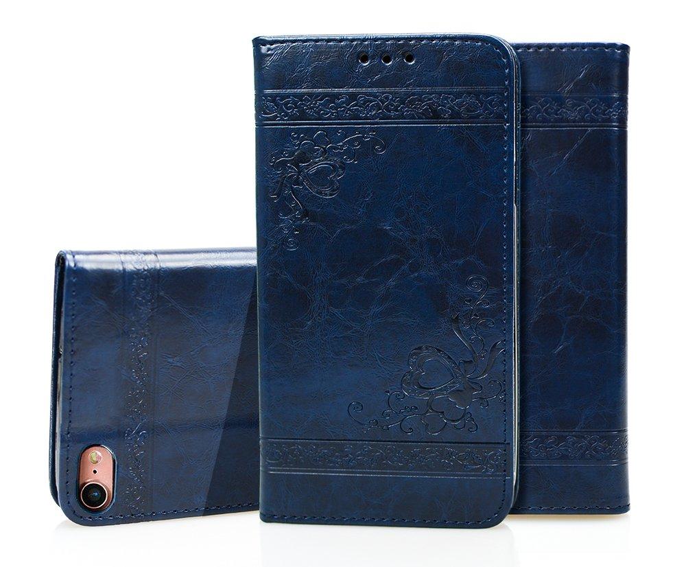 iPhone 7 Hülle, iPhone 8 Echte Rindsleder Brieftasche Hülle , COZY HUT® [Premium Leder Serie] [Wallet Case] Praktishe Ledertasche [Schwarz] Integrierter Aufstell Funktion und 5 Kartenfach Premium Leder Flip Brief Tasche Schutzhülle für iPhone 7 Case Cover