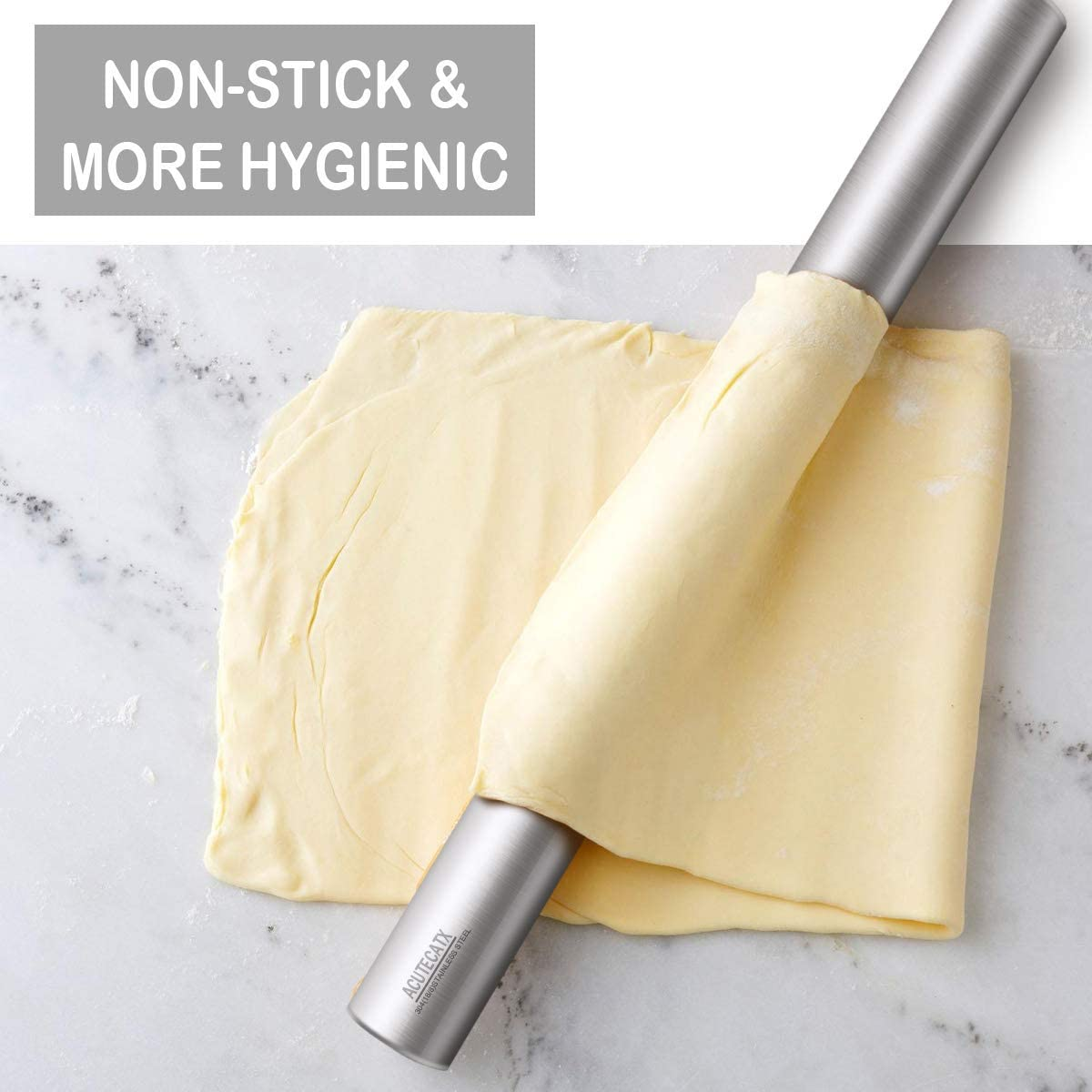 Essential Kitchen Utensils Pastry 16 inches Pie Crust Cookie Islandoffer Classic Beechwood Rolling Pin for Fondant Dough