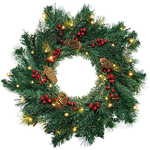 EOOUT Christmas Wreath, 55cm/22inch Handmade Wreath, Red Berries and Pine Cones with 50 Warm White LED Battery String Lights, Holiday Decorations