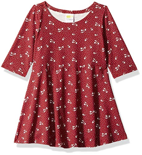 Crazy 8 Baby Girls Long Sleeve Casual Knit Dress, red Garnet Ditsy, 6-12 mo