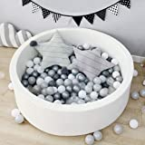 Triclicks Deluxe Kids Ball Pit Kiddie Balls Pool Soft Baby Playpen Indoor Outdoor - Ideal Gift Play Toy for Children Toddler Boys Girls (White)
