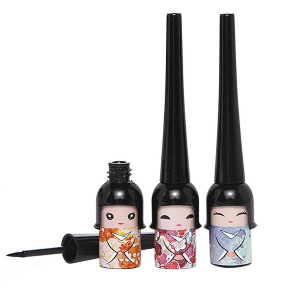 1x Cute Lucky Doll Black Waterproof Liquid Eyeliner Pen Makeup Cosmetic (Random Color)