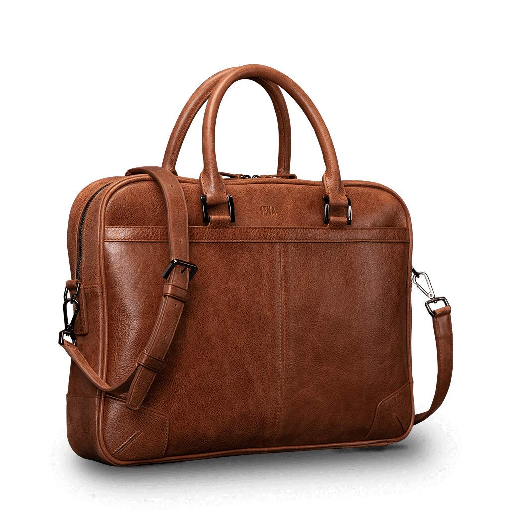 Leather Messenger Bag - Holds Multiple Devices Laptop Tablet Mobile Phone iPad (Cognac)