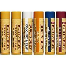 Burt's Bees 100% Natural Moisturizing Lip Balm, Multipack -  Original Beeswax, Coconut & Pear, Vanilla Bean, Mango & Wild Cherry with Beeswax & Fruit Extracts - 6 Tubes