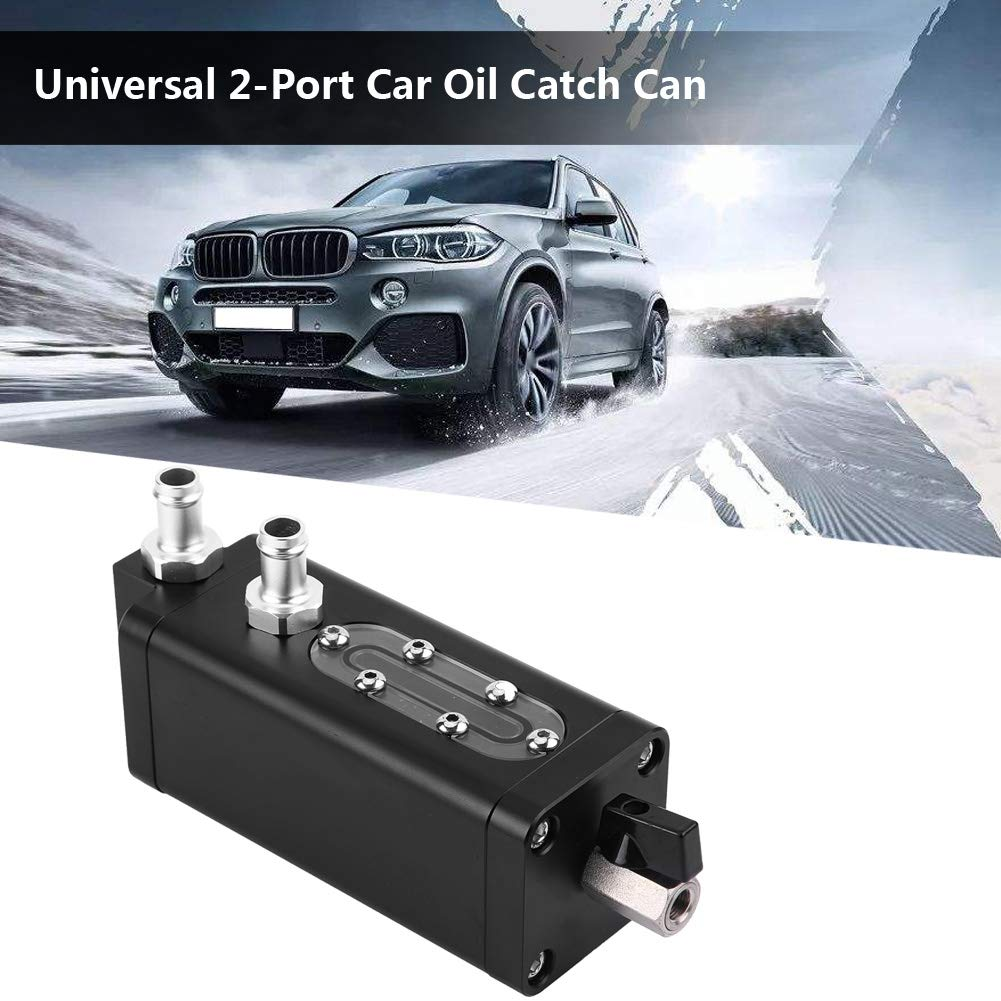 KIMISS Aluminio 500 ml Universal Oil Can Square 2 Port Manufacture Oil refinado Can Dep/ósito Oil Catch Can Tank