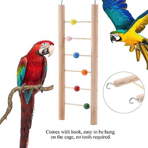 HEEPDD Escalera de Loros, Escalera de Madera 6 Escalada Juguete Colgante Columpio para pájaro Loro Perico Perico Cockatiel Guacamayo Gris Africano Cacatúa Lovebird Finch (Rosario): Amazon.es: Productos para mascotas